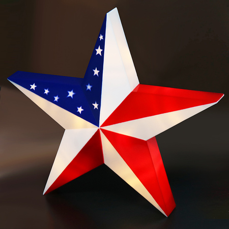 BRIGHT ZEAL LED 3D American Flag Barn Star with Timer