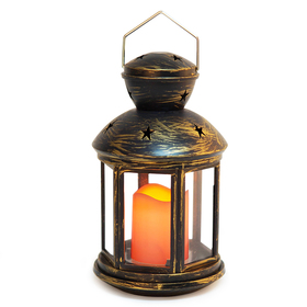 Bright Zeal Vintage Hexagon Candle Lantern w/LED Flickering Flameless Candle (Distressed Bronze, 9