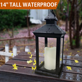 BRIGHT ZEAL Vintage Decorative Lantern with LED Flickering Flameless Candles (BLACK, 6hr Timer, Battery Included)