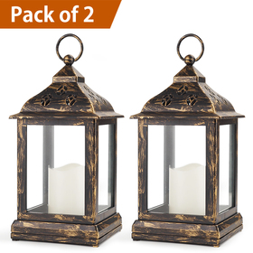 Bright Zeal /Pack of 2/ Vintage Candle Lantern with LED Flickering Flameless Candle (Distressed Bronze, 8hr Timer, Batteries Included) - Candle Lanterns Decorative - Outdoor Christmas Decorations