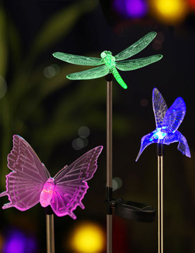 BRIGHT ZEAL [Set of 3] LED Color Changing Solar Stake Lights Outdoor (HUMMINGBIRD, BUTTERFLY, DRAGONFLY)