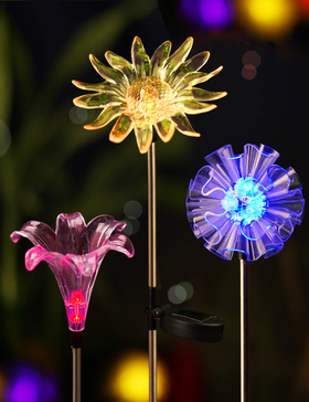 Bright Zeal Set of 3 LED Color Changing Solar Stake Lights Outdoor - Solar Light LED Garden Decor Statues (DANDELION, LILY, SUNFLOWER) - Patio Lights LED Outdoor Multicolor Changing LED Lights