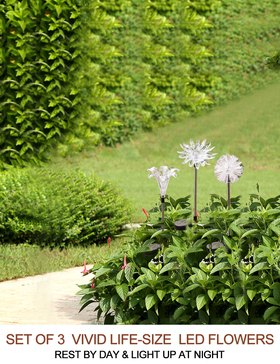 BRIGHT ZEAL - Patio Lights LED Outdoor Multicolor Changing LED Lights Set of 2 LED Color Changing Solar Stake Lights Outdoor Sunflower, Dandelion Solar Light LED Garden Decor Statues
