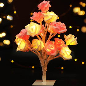 BRIGHT ZEAL Decorative LED Tree Light with Pink & White Roses (20 LEDs, 8hr Timer)
