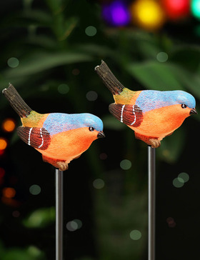 BRIGHT ZEAL Set of 2 LED Color Changing Bird Solar Garden Stake lights in Life Sizes