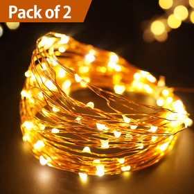 Bright Zeal /Pack of 2/ 33' Long Warm White LED String Lights Firefly Lights (Copper Wire, 6hr Timer) - Seasonal Decor Lights - Lighted Garland with Lights - Home Decor Fairy Lights
