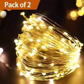 Bright Zeal /Pack of 2/ 33' FT Warm White LED String Lights Firefly Lights - Outdoor Fairy Lights Timer Seasonal Decor Lights - Lighted Garland Lights - Home Decor Holiday Decorations