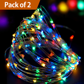 Bright Zeal /Pack of 2/ 33' Long Multicolor LED String Lights with Timer - String Lights for Patio Wedding Party - Colorful Lights String Fairy Lights Silver Wire