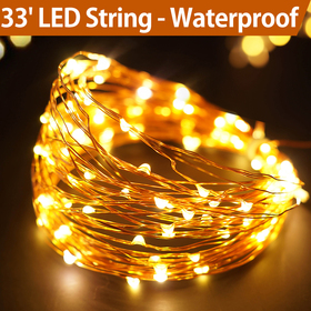 Bright Zeal 33' Warm White LED String Lights Battery Powered with Timer - Lighted Garland Halloween - String Lights LED Firefly Lights - Garland Lights Warm White Christmas Lights Outdoor BZA