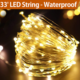 BRIGHT ZEAL 33' Warm White LED String Lights Battery Powered with Timer - Warm White Fairy Lights - Lighted Garland Halloween - Warm White Christmas Lights Outdoor BZA