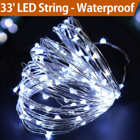 Bright Zeal 33' Cool White Fairy Lights Battery Operated - LED String Lights Battery Powered with Timer - Outdoor Lighted Christmas Garland Lights - Cool White Christmas Tree Lights Battery BZA