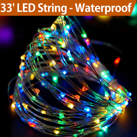 Bright Zeal 33' Long Multicolor LED String Lights with Timer - String Lights for Patio Wedding Party - Colorful Lights String Fairy Lights Silver Wire