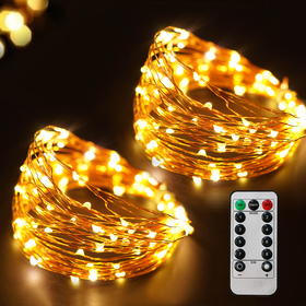 Bright Zeal 66 Ft 200 LED Warm White Fairy Lights with Remote and Timer - 8 Mode Fairy String Lights Battery Operated with Timer Outdoor Waterproof - Battery Powered Starry String Lights for Bedroom