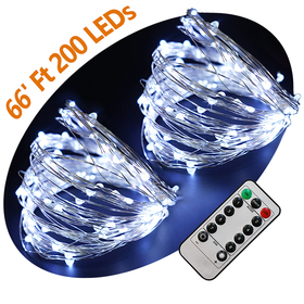 Bright Zeal 66 Ft 200 LED Cool White Fairy Lights Battery Operated With Remote Control Timer - 8 Modes Fairy String Lights For Outdoor Wedding Silver Wire String Lights - LED Starry String Lights