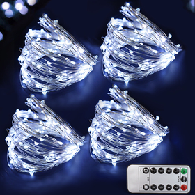 Bright Zeal 4-Pack 200 LED Cool White Fairy Lights Battery Operated with Remote Control Timer - 8 Modes Fairy String Lights for Outdoor Wedding Silver Wire String Lights - LED Starry String Lights