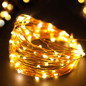 BRIGHT ZEAL 33' Long Warm White LED String Lights (Copper Wire, AC ADAPTER Included & Timer)