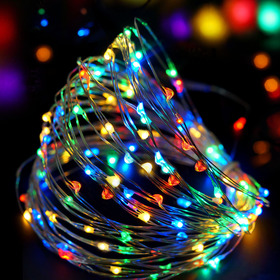BRIGHT ZEAL 33' Long Multicolor LED String Lights (Silvery Wire, AC ADAPTER Included & Timer)