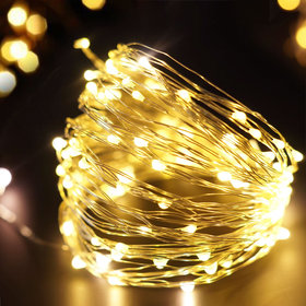 BRIGHT ZEAL 33' Long Warm White LED String Lights (Silvery Wire, AC ADAPTER Included & Timer)