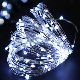 BRIGHT ZEAL 33' Long Cool White LED String Lights (Silvery Wire, AC ADAPTER Included & Timer)