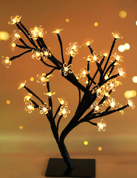 BRIGHT ZEAL Decorative LED Metal Cherry Blossom Bonsai Tree Light with Timer