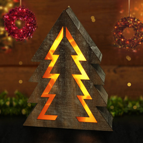 BRIGHT ZEAL Wooden Christmas Tree with LED Lights (Warm White Glow)