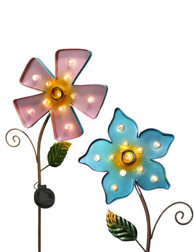 BRIGHT ZEAL Set of 2 Large Metal Flower LED Solar Garden Stake Lights (Lake Blue & Lori Pink)