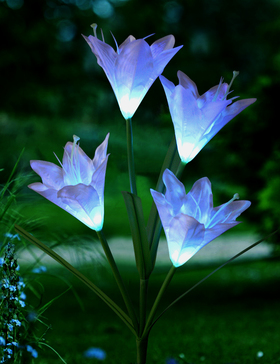 Bright Zeal 1-Bundle Solar Lily Flower Light (White) Garden Decoration Outdoor - LED Color Changing Solar Stake Lights Waterproof - Patio Stake Light Solar Powered - Solar Artificial Lily Flower Light