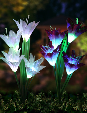 Bright Zeal 2 Bundle 8 Lily LED Outdoor Solar Flower Garden Stake Multi-Color Changing Lights - Multicolor Solar Lights Outdoor Decorative Stakes -Solar Garden Stake Lights Lily Flower LED Yard Lights