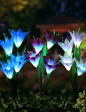 Bright Zeal 2 Bundle 8 Lily LED Fairy Solar Garden Light With Color Changing Flower Lights - Multi Color Solar Lights Outdoor Garden LED Flower Waterproof - Solar Power Purple Lily Flower LED Light