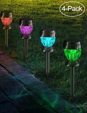 Bright Zeal 4-Pack LED Color Changing Solar Stake Lights Garden Decoration -Patio Ground Lights LED Outdoor - Outside Lights For Patio Solar Powered Waterproof - Landscape Lighting Solar Waterproof