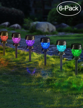 Bright Zeal 6-Pack Solar Lights Outdoor Waterproof Colored Pathway - Glass Diamond Decorative Solar Lights Outdoor Garden Stake - Patio Lights LED Outdoor Multi Colors Lawn Lights Solar Powered Decor