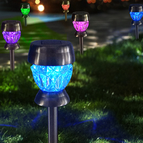 Bright Zeal 6-Pack Landscape Path Lights Solar Powered LED Lights - Color Changing Solar Lights Outdoor Decorations for Patio - Waterproof Landscape Lights Multi Colored Pathway Lights Glass Diamond