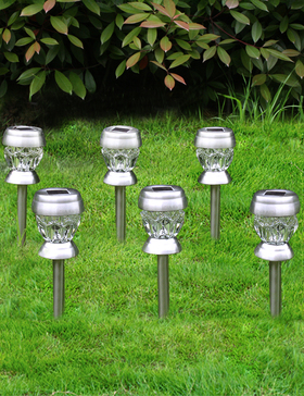 Bright Zeal 6-Pack Solar Lights Outdoor Waterproof Colored Pathway - Glass Dimond Decorative Solar Lights Outdoor Garden Stake - Patio Lights LED Outdoor Multi Colors - Lawn Lights Solar Powered Decor