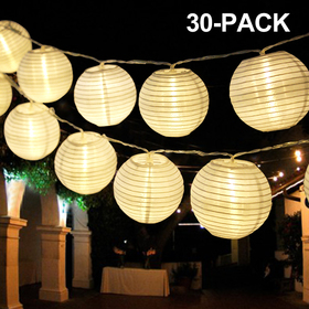 Bright Zeal 20' Long Round LED Lantern String Lights Battery Powered (White, 3