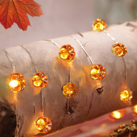 Bright Zeal 17 Ft 50 LED Pumpkin String Lights Outdoor Waterproof Battery Operated With Remote Timer - Halloween String Lights Battery Powered - Starry Silver Wire String Lights Halloween Decorations