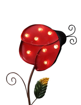 BRIGHT ZEAL Large Metal LED Solar Garden Stake Light (Ladybug)