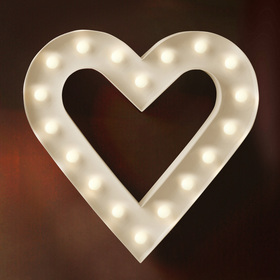 BRIGHT ZEAL Romantic Heart Marquee Sign (White, Timer)