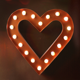 BRIGHT ZEAL Romantic Heart Marquee Sign (Bronze, Timer)