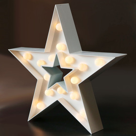 BRIGHT ZEAL Decorative Marquee Sign STAR LED Lights (White, Timer)