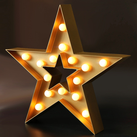 BRIGHT ZEAL Decorative Marquee Sign STAR LED Lights (Golden, Timer)